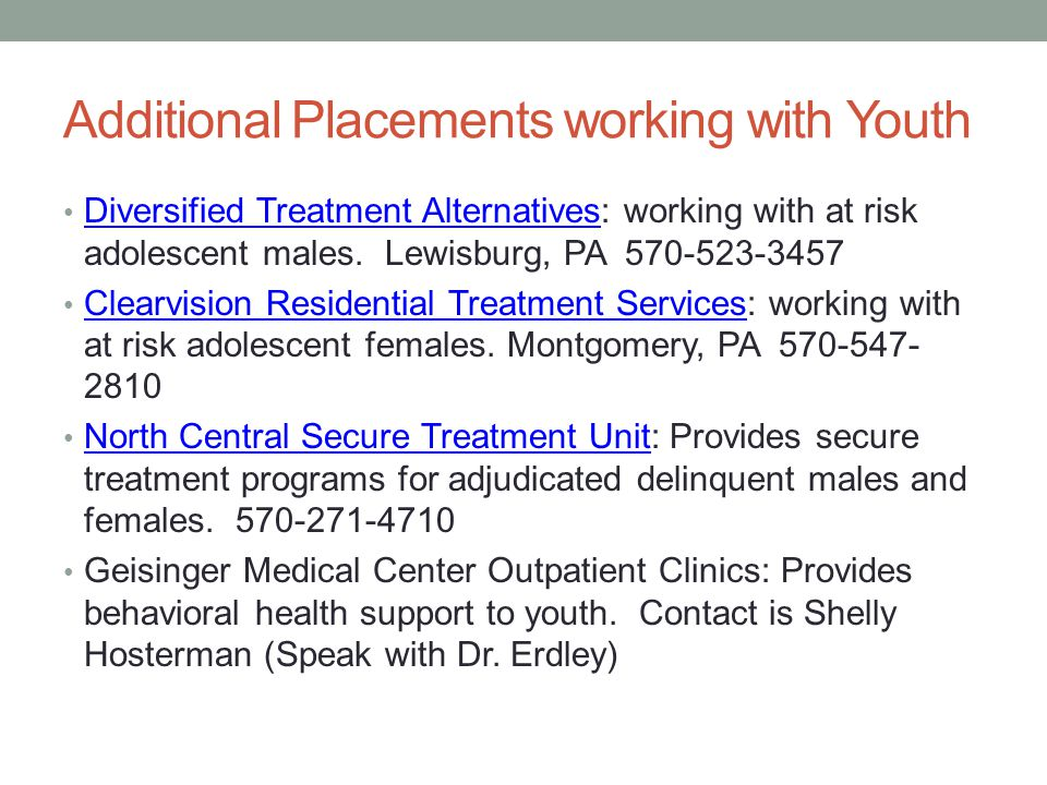 Additional Placements working with Youth Diversified Treatment Alternatives: working with at risk adolescent males.