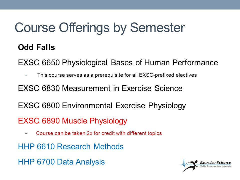 Course Offerings by Semester Odd Falls EXSC 6650 Physiological Bases of Human Performance This course serves as a prerequisite for all EXSC-prefixed electives EXSC 6830 Measurement in Exercise Science EXSC 6800 Environmental Exercise Physiology EXSC 6890 Muscle Physiology Course can be taken 2x for credit with different topics HHP 6610 Research Methods HHP 6700 Data Analysis