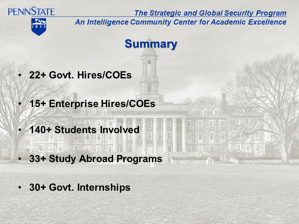22+ Govt. Hires/COEs 15+ Enterprise Hires/COEs 140+ Students Involved 33+ Study Abroad Programs 30+ Govt. Internships Summary The Strategic and Global