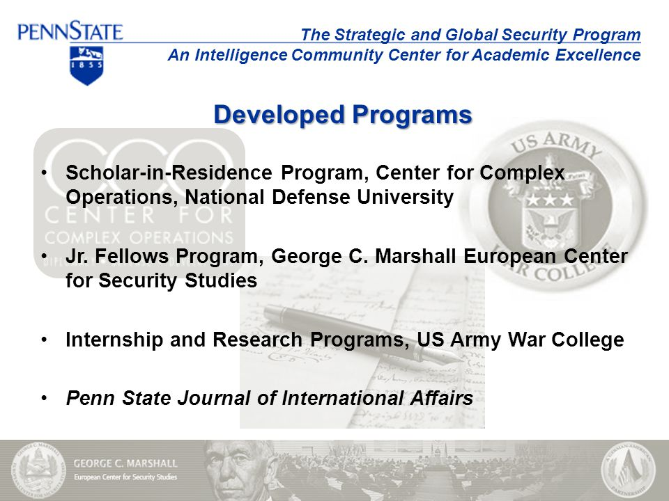 Scholar-in-Residence Program, Center for Complex Operations, National Defense University Jr.