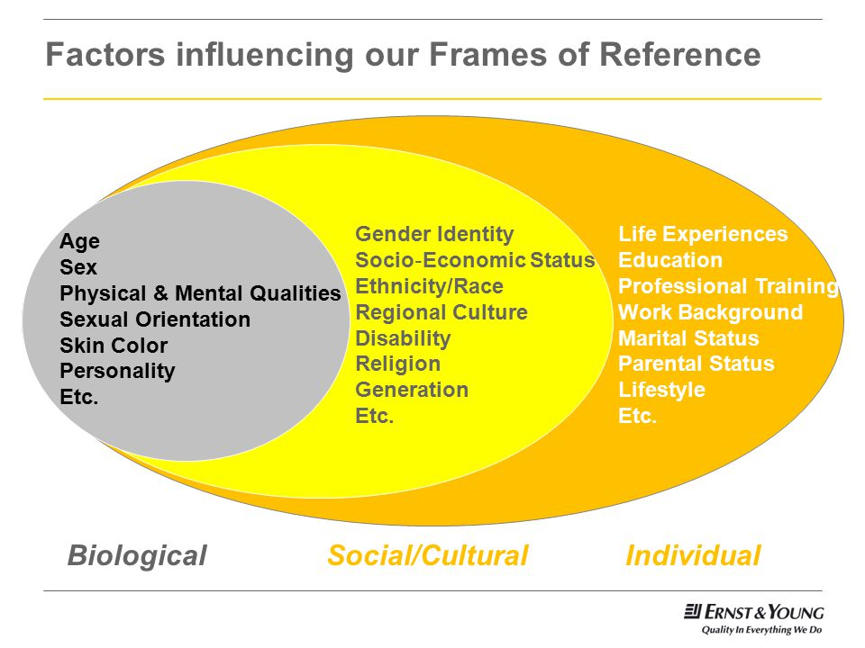Factors influencing our Frames of Reference Age Sex Physical & Mental Qualities Sexual Orientation Skin Color Personality Etc.