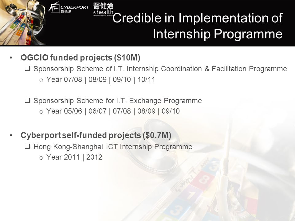 Credible in Implementation of Internship Programme OGCIO funded projects ($10M)  Sponsorship Scheme of I.T. Internship Coordination & Facilitation Pr