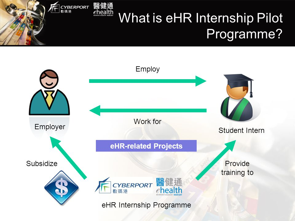 What is eHR Internship Pilot Programme? Employer Student Intern Work for Employ eHR Internship Programme SubsidizeProvide training to eHR-related Proj