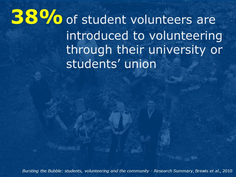 38% of student volunteers are introduced to volunteering through their university or students' union Bursting the Bubble: students, volunteering and t