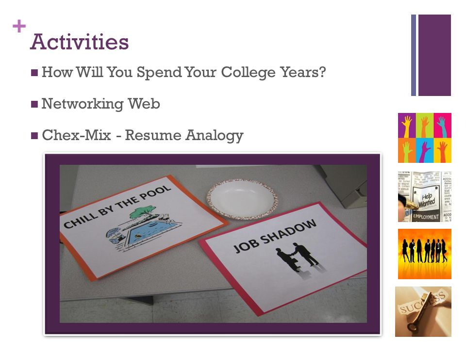 + Activities How Will You Spend Your College Years? Networking Web Chex-Mix - Resume Analogy