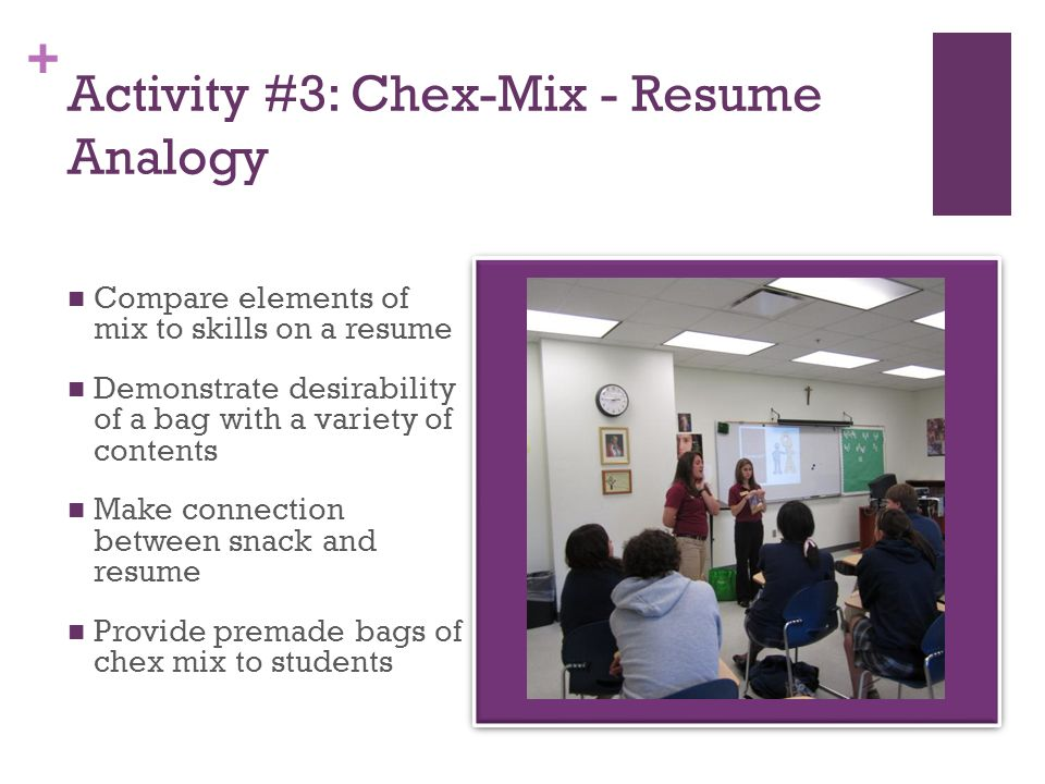 + Activity #3: Chex-Mix - Resume Analogy Compare elements of mix to skills on a resume Demonstrate desirability of a bag with a variety of contents Make connection between snack and resume Provide premade bags of chex mix to students