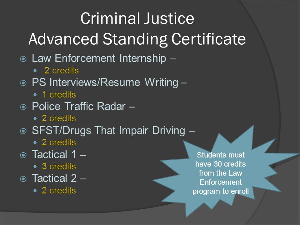 Criminal Justice Advanced Standing Certificate  Law Enforcement Internship – 2 credits  PS Interviews/Resume Writing – 1 credits  Police Traffic Ra