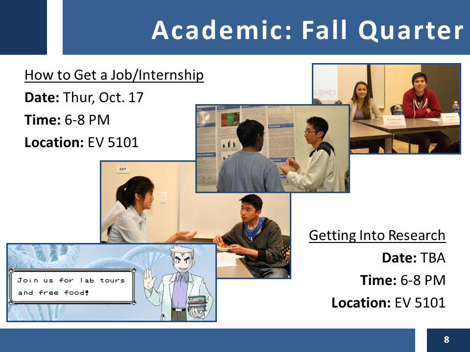 Academic: Fall Quarter How to Get a Job/Internship Date: Thur, Oct.