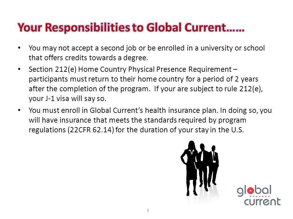 You may not accept a second job or be enrolled in a university or school that offers credits towards a degree. Section 212(e) Home Country Physical Pr