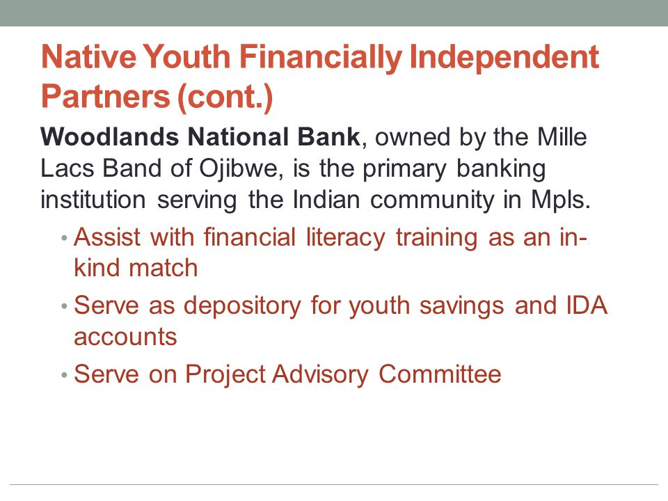 Native Youth Financially Independent Partners (cont.) Woodlands National Bank, owned by the Mille Lacs Band of Ojibwe, is the primary banking institution serving the Indian community in Mpls.