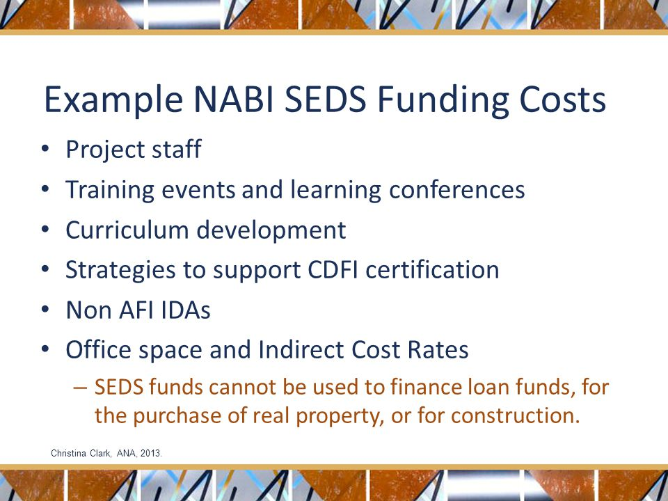 Example NABI SEDS Funding Costs Project staff Training events and learning conferences Curriculum development Strategies to support CDFI certification Non AFI IDAs Office space and Indirect Cost Rates – SEDS funds cannot be used to finance loan funds, for the purchase of real property, or for construction.