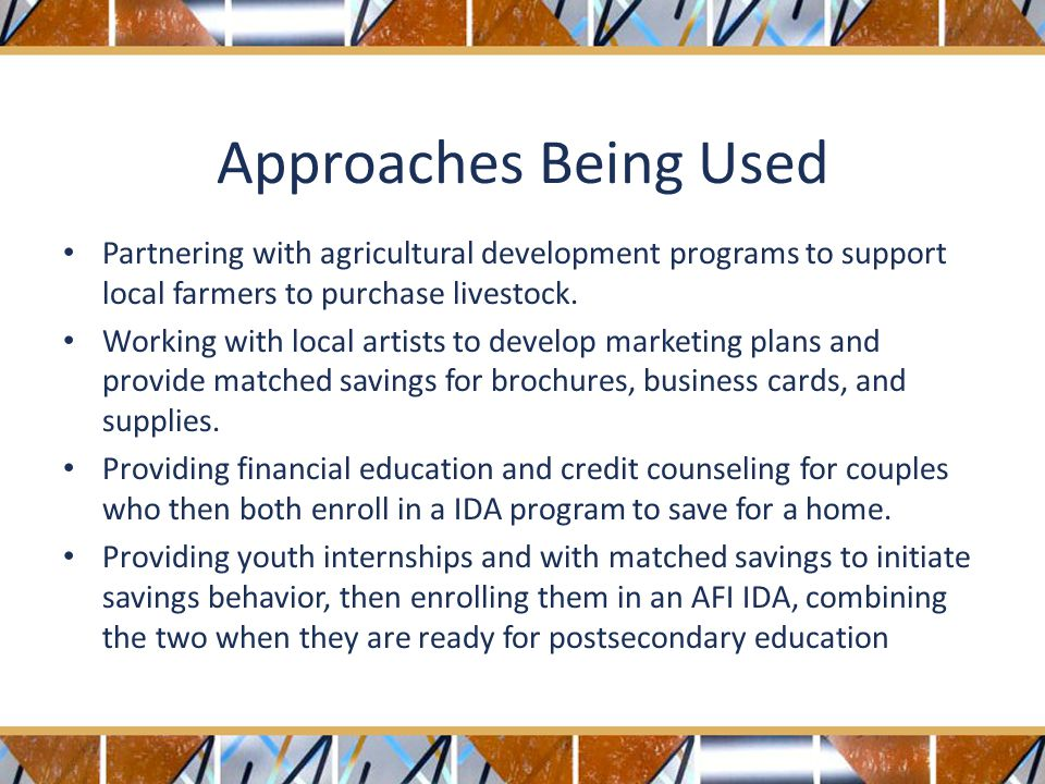 Approaches Being Used Partnering with agricultural development programs to support local farmers to purchase livestock.