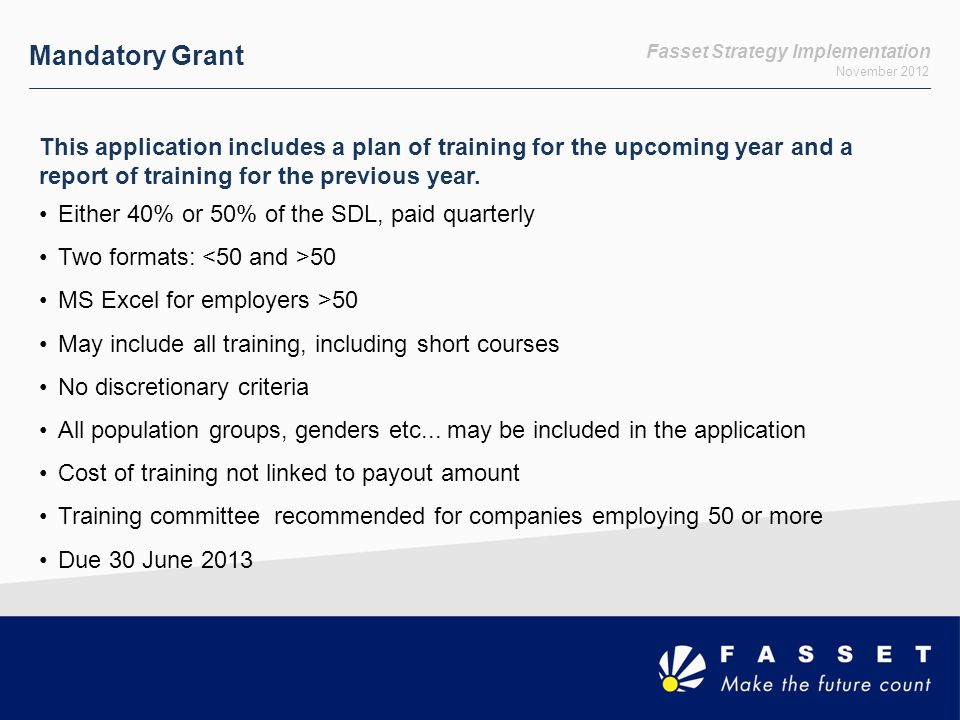 Fasset Strategy Implementation November 2012 Mandatory Grant This application includes a plan of training for the upcoming year and a report of training for the previous year.