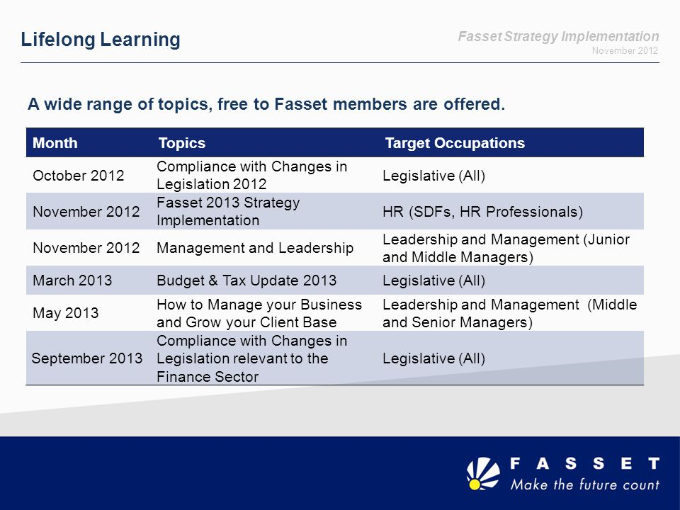 Fasset Strategy Implementation November 2012 Lifelong Learning A wide range of topics, free to Fasset members are offered.