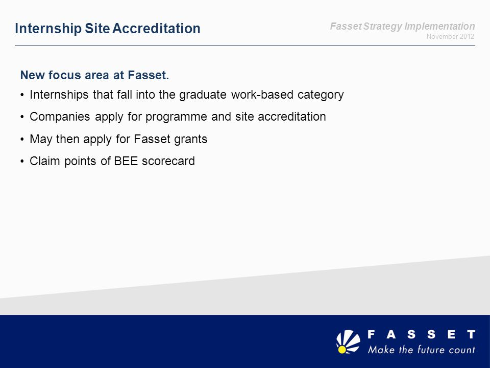 Fasset Strategy Implementation November 2012 Internship Site Accreditation New focus area at Fasset.
