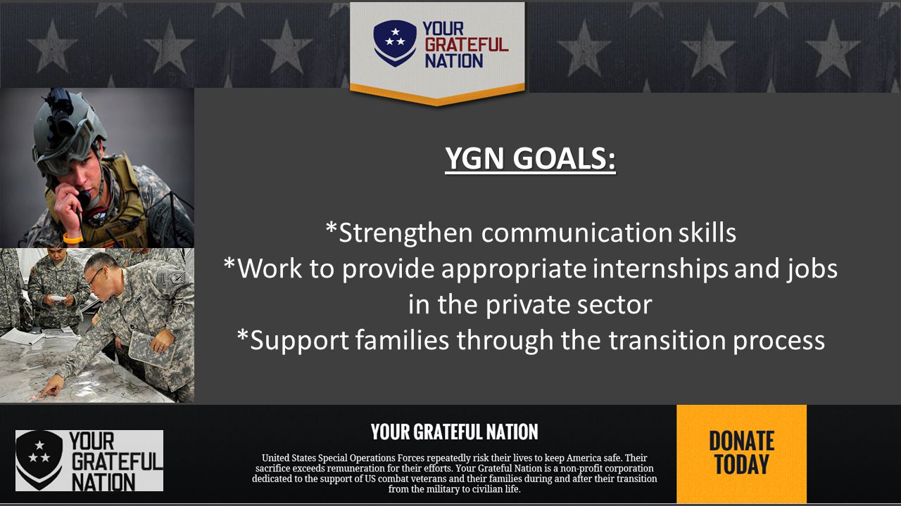 Family Stabilization Support *Resilience Training targeted for Special Ops Vets *Re-integration Assistance *Coping and Communication Skill training *Partner to provide Family Counseling support
