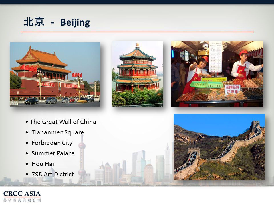 北京 - Beijing The Great Wall of China Tiananmen Square Forbidden City Summer Palace Hou Hai 798 Art District