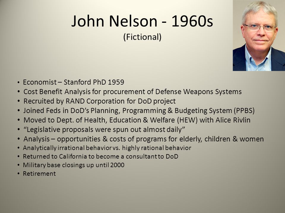 John Nelson - 1960s (Fictional) Economist – Stanford PhD 1959 Cost Benefit Analysis for procurement of Defense Weapons Systems Recruited by RAND Corpo