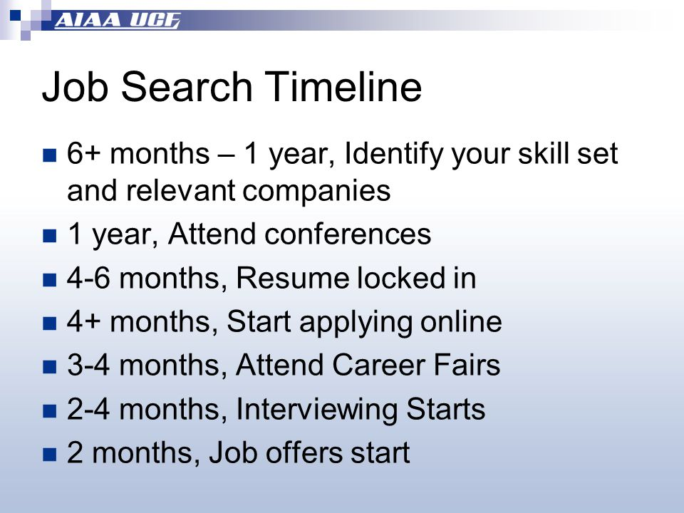 Job Search Timeline 6+ months – 1 year, Identify your skill set and relevant companies 1 year, Attend conferences 4-6 months, Resume locked in 4+ months, Start applying online 3-4 months, Attend Career Fairs 2-4 months, Interviewing Starts 2 months, Job offers start