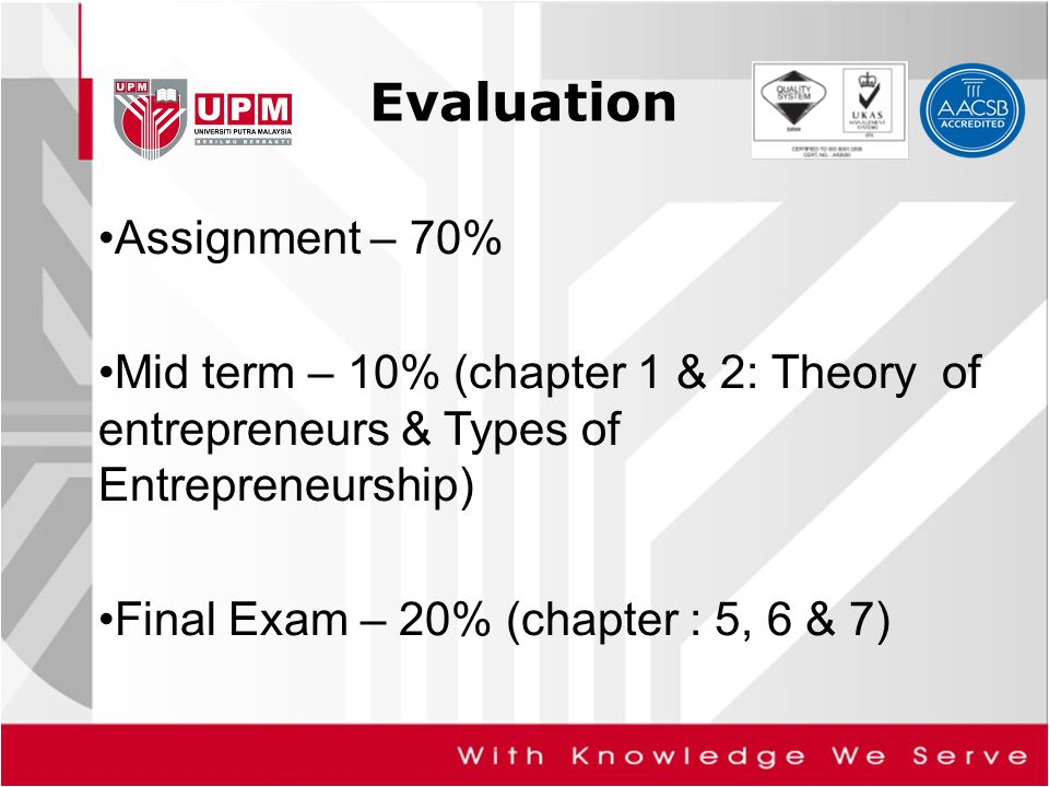 Evaluation Assignment – 70% Mid term – 10% (chapter 1 & 2: Theory of entrepreneurs & Types of Entrepreneurship) Final Exam – 20% (chapter : 5, 6 & 7)