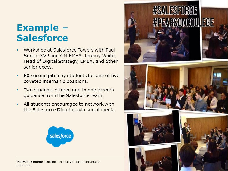 Pearson College London Industry-focused university education 9 Example – Direct Line Group Workshops on Marketing.