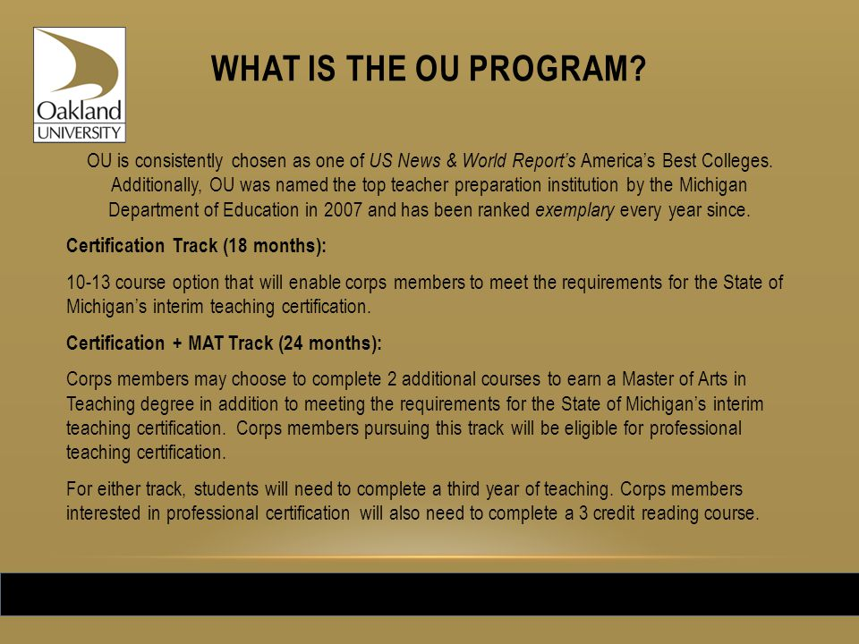 WHAT IS THE OU PROGRAM.