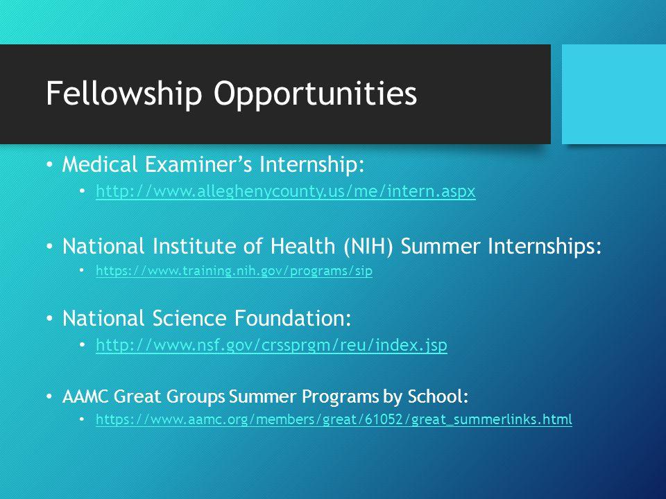 Fellowships Opportunities Premed Experiences: http://people.rit.edu/gtfsbi/Symp/premed.htm First Year Experiences: http://www.fye.pitt.edu/ International Opportunities: http://people.rit.edu/gtfsbi/Symp/mcoop.html