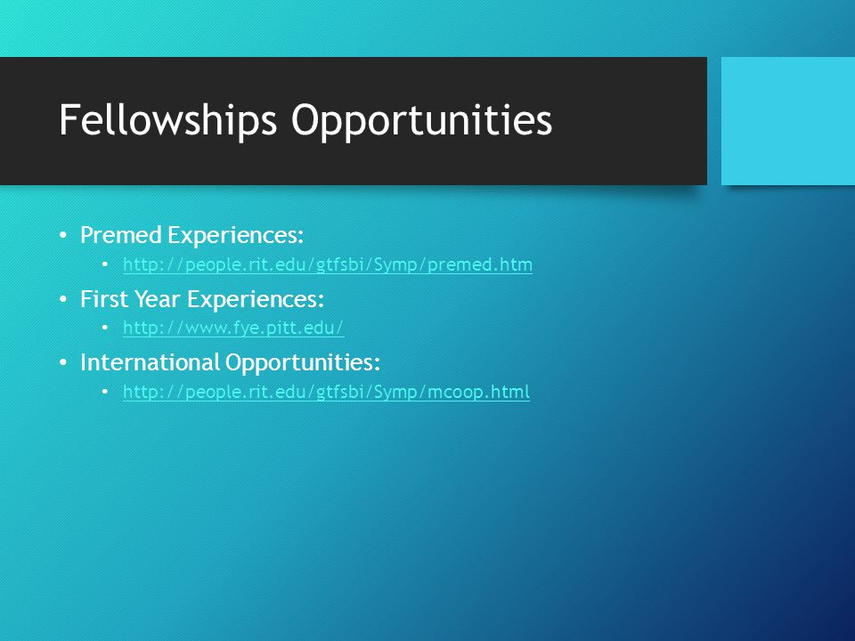 Future Research Opportunities Email professors much earlier than you want to start.