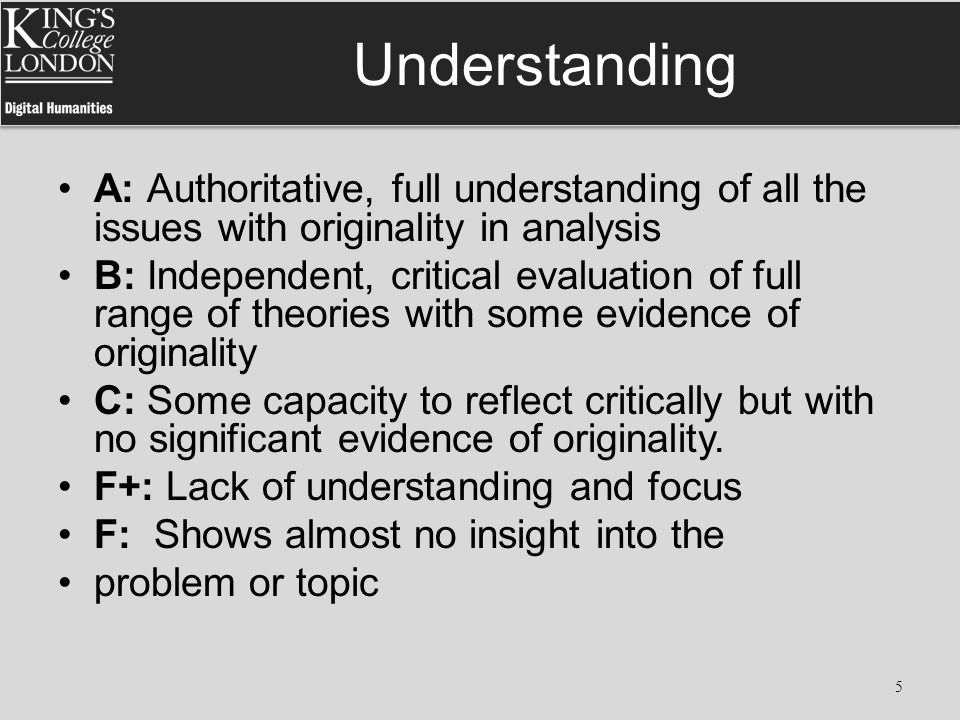 Understanding A: Authoritative, full understanding of all the issues with originality in analysis B: Independent, critical evaluation of full range of