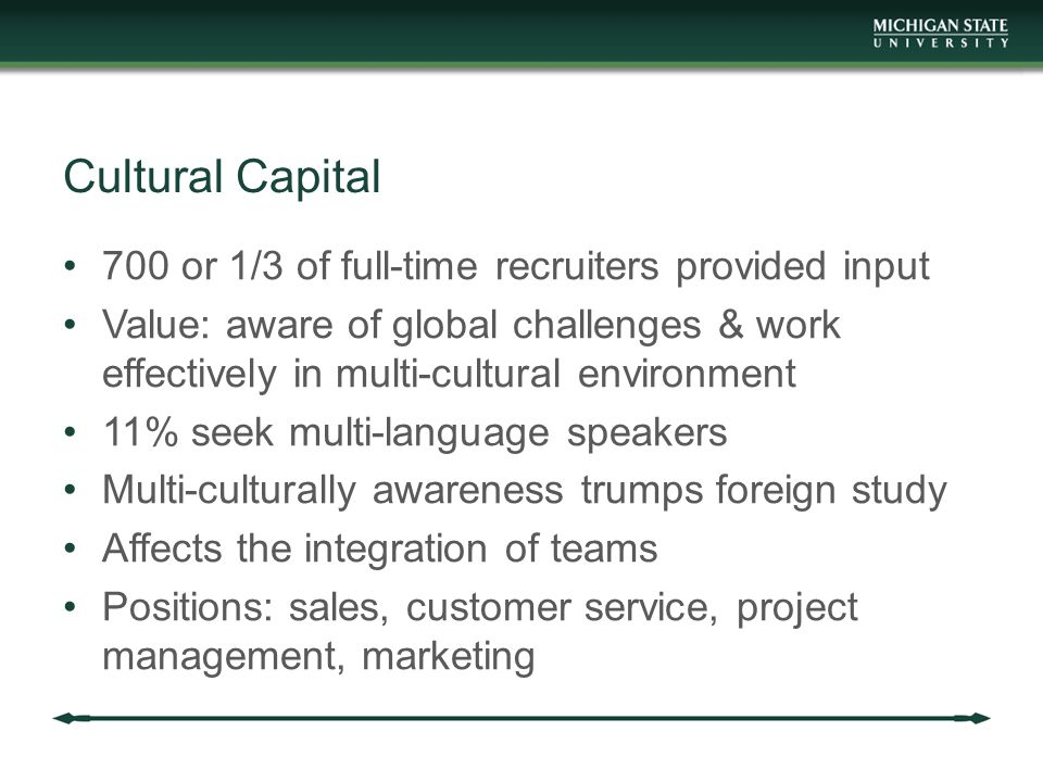 Cultural Capital 700 or 1/3 of full-time recruiters provided input Value: aware of global challenges & work effectively in multi-cultural environment 11% seek multi-language speakers Multi-culturally awareness trumps foreign study Affects the integration of teams Positions: sales, customer service, project management, marketing