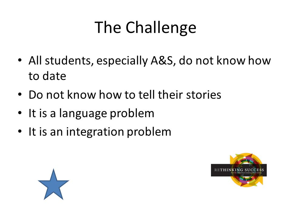 The Challenge All students, especially A&S, do not know how to date Do not know how to tell their stories It is a language problem It is an integration problem