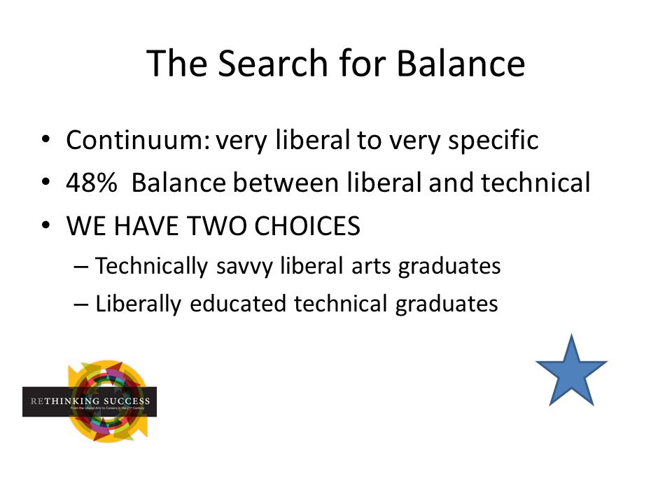 The Search for Balance Continuum: very liberal to very specific 48% Balance between liberal and technical WE HAVE TWO CHOICES – Technically savvy liberal arts graduates – Liberally educated technical graduates
