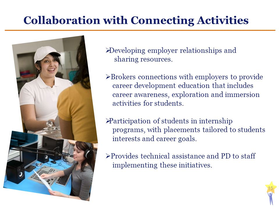 Collaboration with Connecting Activities 15  Developing employer relationships and sharing resources.