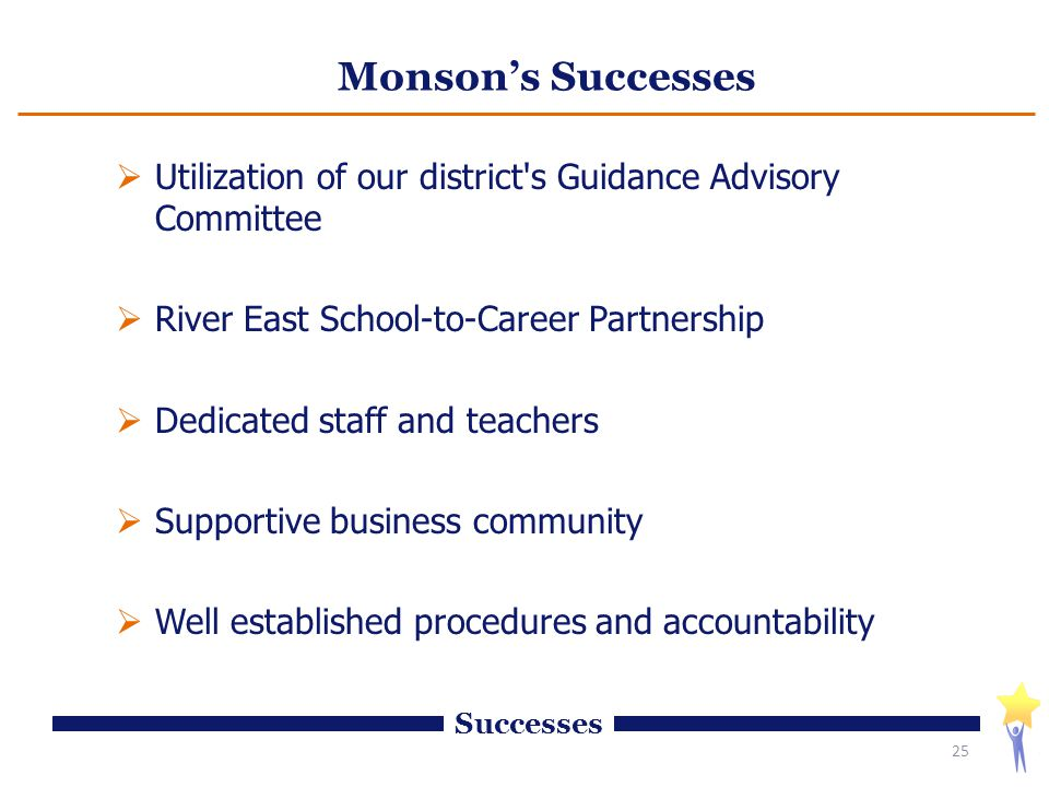 Monson's Successes  Utilization of our district s Guidance Advisory Committee  River East School-to-Career Partnership  Dedicated staff and teachers  Supportive business community  Well established procedures and accountability 25 Successes