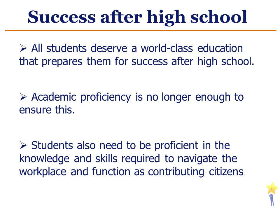 Success after high school 4  All students deserve a world-class education that prepares them for success after high school.