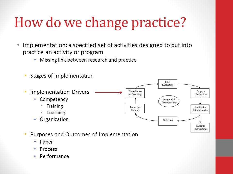 How do we change practice.