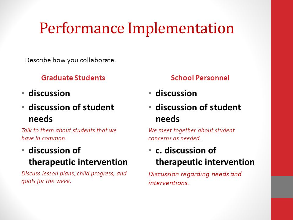 Performance Implementation Graduate Students discussion discussion of student needs Talk to them about students that we have in common.