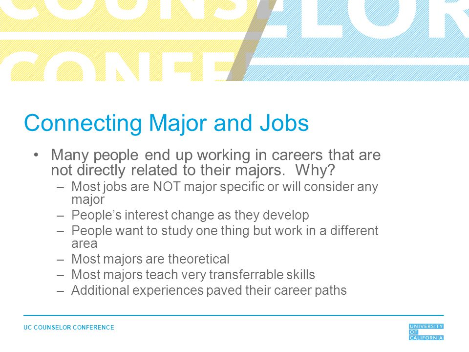 UC COUNSELOR CONFERENCE Connecting Major and Jobs Many people end up working in careers that are not directly related to their majors.