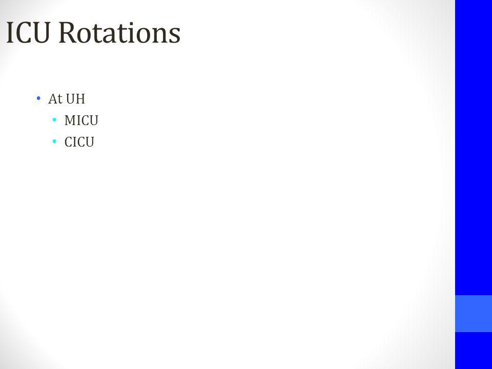 ICU Rotations At UH MICU CICU