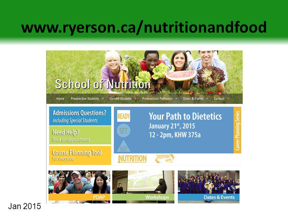 www.ryerson.ca/nutritionandfood Jan 2015