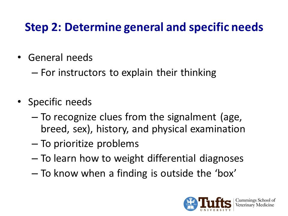 Step 2: Determine general and specific needs General needs – For instructors to explain their thinking Specific needs – To recognize clues from the signalment (age, breed, sex), history, and physical examination – To prioritize problems – To learn how to weight differential diagnoses – To know when a finding is outside the 'box'
