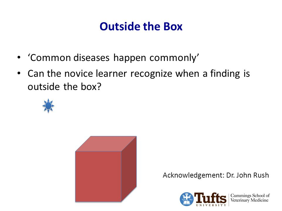 Outside the Box 'Common diseases happen commonly' Can the novice learner recognize when a finding is outside the box.