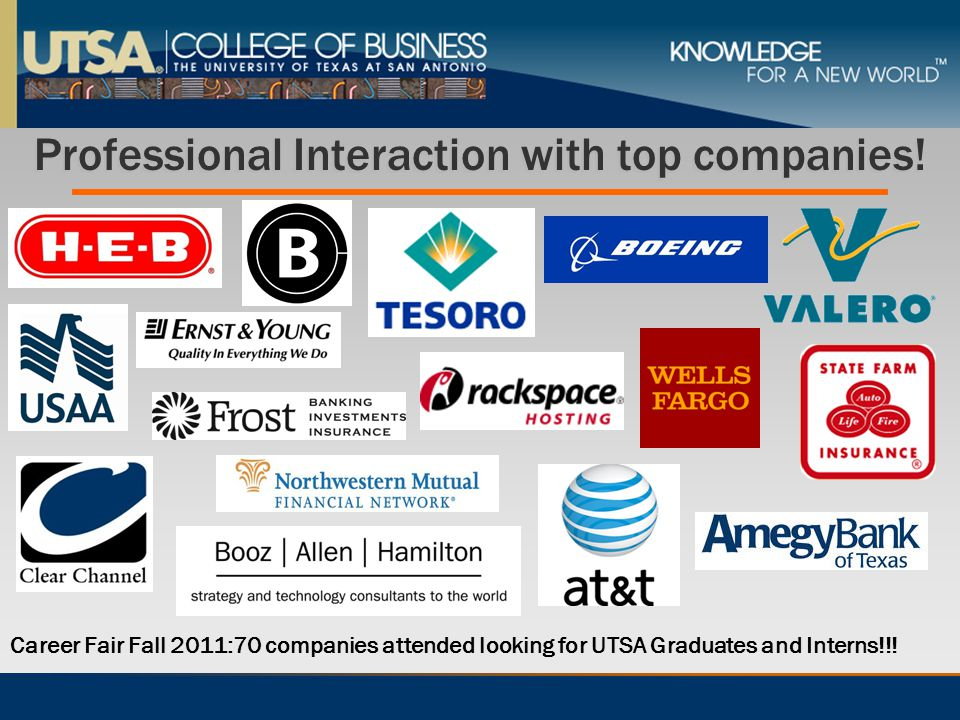 Professional Interaction with top companies! Career Fair Fall 2011:70 companies attended looking for UTSA Graduates and Interns!!!