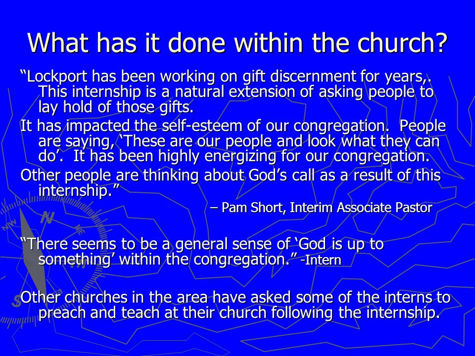 What has it done within the church. Lockport has been working on gift discernment for years,.