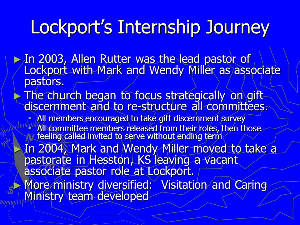 Lockport's Internship Journey ► In 2003, Allen Rutter was the lead pastor of Lockport with Mark and Wendy Miller as associate pastors.