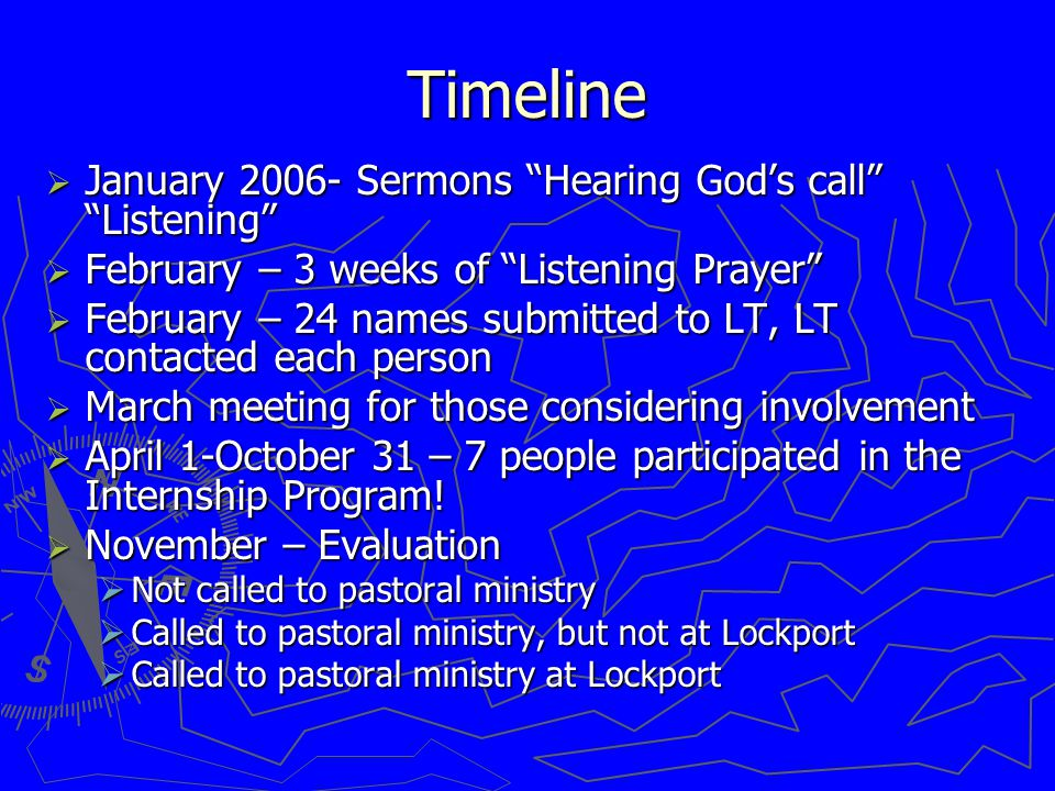 Timeline  January 2006- Sermons Hearing God's call Listening  February – 3 weeks of Listening Prayer  February – 24 names submitted to LT, LT contacted each person  March meeting for those considering involvement  April 1-October 31 – 7 people participated in the Internship Program.