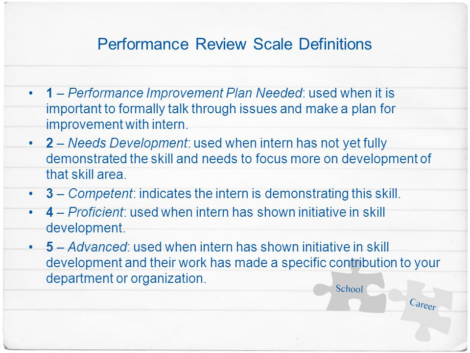 Performance Review Scale Definitions 1 – Performance Improvement Plan Needed: used when it is important to formally talk through issues and make a plan for improvement with intern.