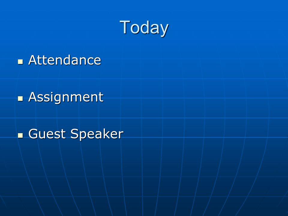 Today Attendance Attendance Assignment Assignment Guest Speaker Guest Speaker