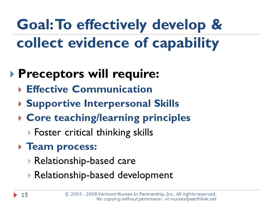 Goal: To effectively develop & collect evidence of capability © 2003 - 2008 Vermont Nurses In Partnership, Inc.