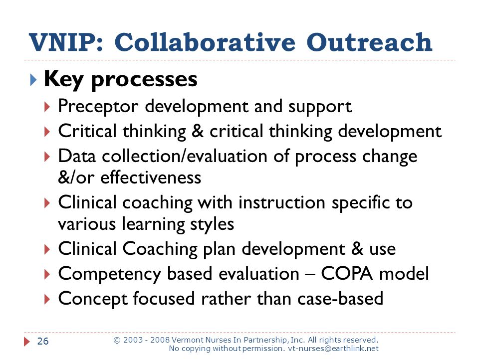 VNIP: Collaborative Outreach © 2003 - 2008 Vermont Nurses In Partnership, Inc.